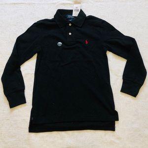 POLO**Long Sleeve Black Shirt**Age 8 $45